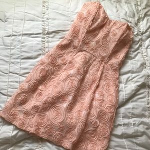 Rose embroidered strapless dress